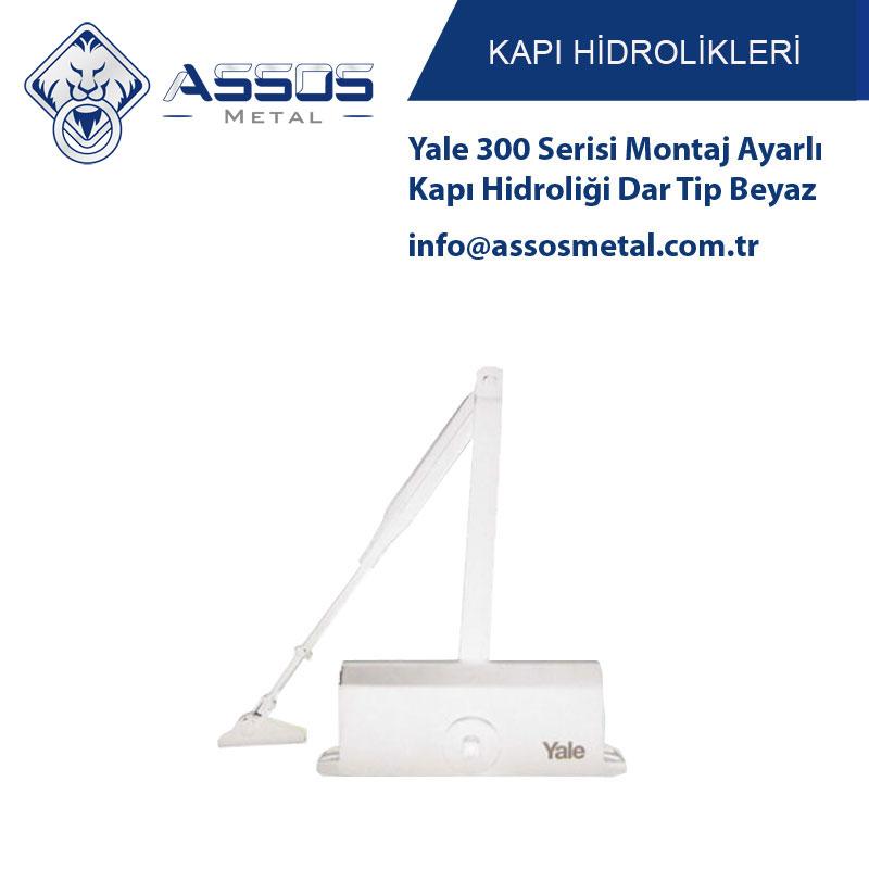 Yale 300 Serisi Montaj Ayarlı Kapı Hidroliği Dar Tip Beyaz